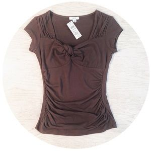 NWT Cache Fig Brown Rayon Knot Top S